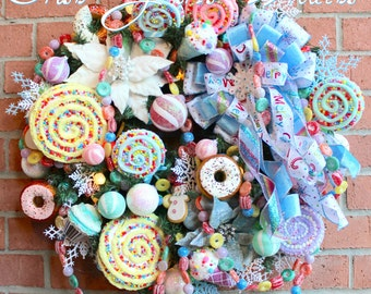 Sweet Treat Candy Christmas Wreath, Pre-lit with sugared ball candy lights,  lollipops, cookies, donuts, dessert, Pastel Christmas