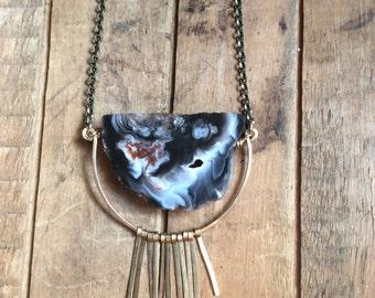 stormchaser // agate slice and brass fringe necklace