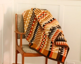 Vintage Blanket 1960's-70's Ibena Western Germany Double Sided Throw/Camp Blanket Boho Gold Rust Brown Arrows Stripes