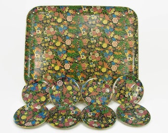 Viking Paper Mache Serving Tray with 8 Gem Viking Coasters in Case, Alcohol Proof  Black Floral Tray and Coaster Set
