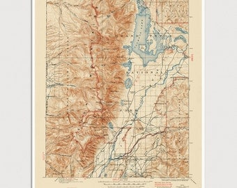 Grand Teton National Park Map Art Print 1899/1945 Old Antique Map Archival Reproduction