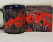 Flower mug, flower coaster, red flower mug, coffee mug, coffee mug and coaster, tea cup, red poppy