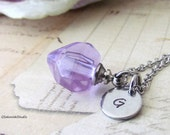 Personalized Perfume Bottle Necklace, Hand Stamped Initial Small Lavender Glass Heart Perfume Bottle Vial Necklace