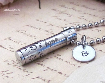 Personalized Cremation Urn Pendant Necklace, Hand Stamped Cremation Memorial Only Love Rhinestone Stainless Steel Urn Necklace