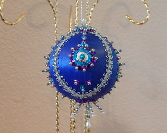 Blue Satin Sequin Ornament with Rounded Rickrack Accent-Hand Beaded