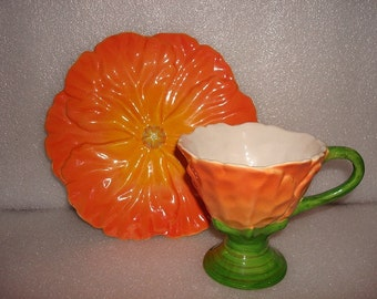 Teleflora Orange Poppy Flower Ceramic Cup And Saucer Set