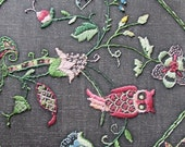 Embroidered Pillow Vintage Owl and Woodland Animals Crewel Work Pillow