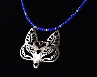 Beaded Flower Fox / Wolf Filigree Necklace, With Thin Blue Beaded Cord