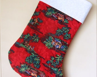 Quilted Hawaiian Christmas Stocking, Woodies and Palm Trees, Mele Kalikimaka, Beach Christmas, Tropical Holiday Decoration, Red