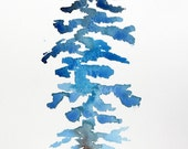 Blue Ombre Pine Tree with Dog - Original Watercolor Painting