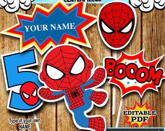 Superhero Centerpieces , Spidermann Centerpieces, Party Signs Instant Donwload, Party Printable, Photo Props RP-54
