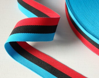 "Striped grosgrain trim in red, black and turquoise - THREE YARDS, grosgrain ribbon, 25mm / 1"" wide trim, striped grosgrain trim - 3 yds."