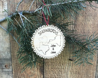 Personalized Snowbirds Couple Grandparent's Christmas Ornament Winter Home Snowbird Retirement Florida Christmas Snowbirds Second Home