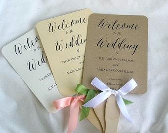 Wedding Fan Wedding Program Fans Coral Peach Ivory Rustic Ceremony Program Fans Wedding Fans Wedding Paddle Fan Program Fan Custom Any Color
