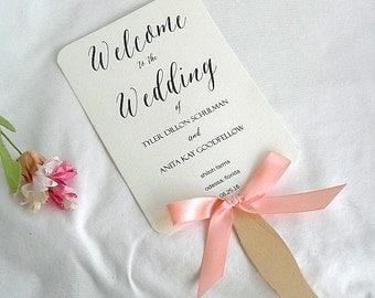 Wedding Fan Wedding Program Fans Coral Peach Ivory Rustic Ceremony Program Fans Wedding Keepsake Fans Wedding Fan Custom Fan Any Color