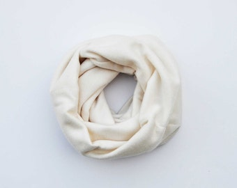 Cream fleece scarf, cowl scarf, infinity scarf, gift for him, chunky scarf, christmas scarves, fleece cowl, men's fashion, dad present
