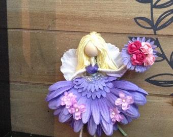 Flower Fairy Doll Ornament, Purple Fairies, One of a Kind