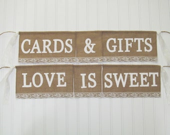 LOVE IS SWEET - Dessert Table sign - Cards & Gifts Sign - Cards and Gifts Banner - Love is Sweet Banner - Reception Table sign - Cards Sign
