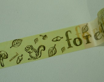 1 Roll Japanese Washi Tape- Forrest with Birds, Deer, and Squirrel