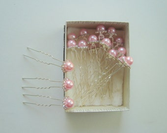 Hair pins - 18 pink pearl with rhinestones