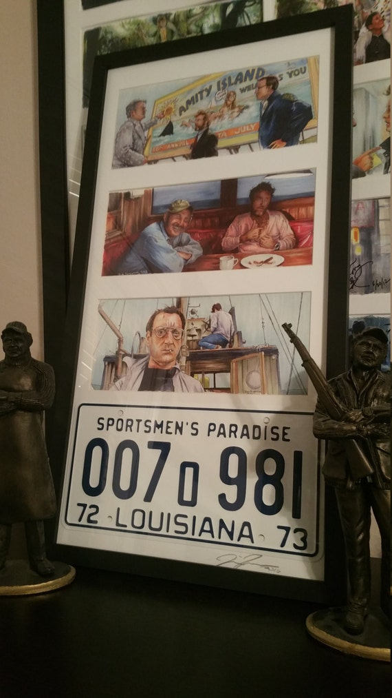 3 Framed Jaws prints with License Plate