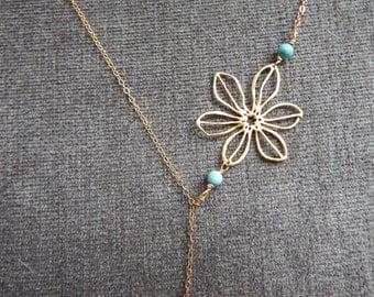 Gold Filled Lariat Necklace with Turquoise Pendant