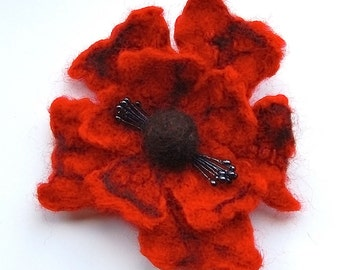 Felted flower brooch, wet felted wool flower, felted jewelry, red and brown, flower felt pin, corsage, big flower brooch