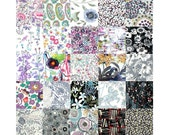 "Liberty Fabric 25 Mini 2.5"" Charm Quilt Squares Ideal for Patchwork Quilting Grey Black Purple Lilac Floral Cotton Tana Lawn"