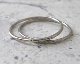 Palladium Band Ring - Skinny - Hammered or Smooth - 1mm Band - Palladium Band - Stacking Band Ring