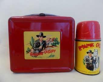 HOPALONG CASSIDY Red Metal Aladdin Lunch Box with Original Metal Thermos dated 1950 * * * * * FREE Priority Mail Shipping