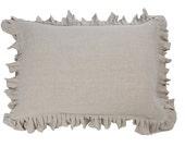 Ruffled pillow case - ruffle pillowcases - Natural pillow cover - ruffled bedding - linen pillow case - linen bedding