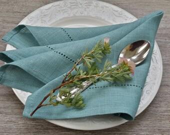 LINEN Teal blue Napkins - Teal BLUE napkins - teal blue wedding - teal blue table - teal blue linen - teal blue decor - linen napkins set