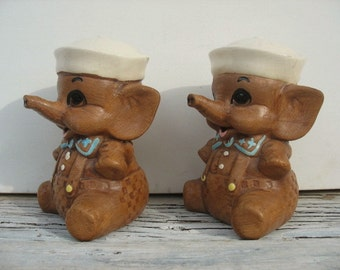 Kitsch Twin Winton baby sailor elephant salt and pepper shakers, range size salt and pepper, elephant set