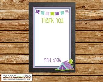 Camping Thank You Card   Purple Chalkboard Camping Thank You   Glamping Thank You Card   DIY Printable
