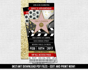 Hollywood Ticket Invitation   Red Carpet Movie Birthday Party   (Instant  Download) Editable And