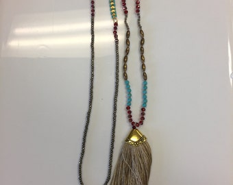 "Beaded necklace, around 36"", with a 90mm tassel, 1 pc,"