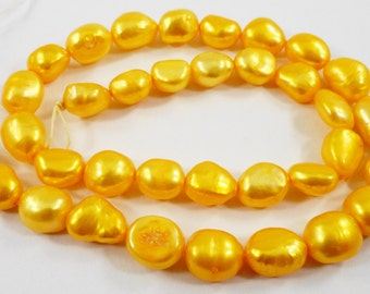 "Yellow Pearl Beads 9-10mm Orange-Yellow Freshwater Pearl Beads, Rice Pearl Beads, Drilled Pearl Beads on a 14"" Full Strand with 36 Beads"
