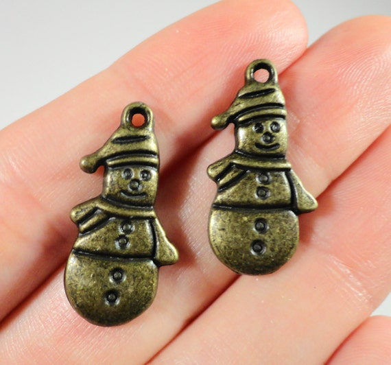 Bronze Snowman Charms 24x12mm Antique Brass Snowman Pendants, Winter Charms, Christmas Charms, Holiday Charms, DIY Craft Supplies, 10pcs
