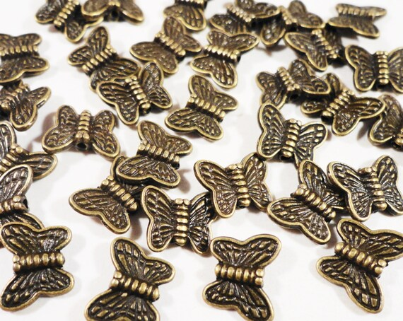 Bronze Butterfly Beads 8x10mm Antique Brass Butterfly Beads, Butterfly Spacer Beads, Metal Spacer Beads for Jewelry 30 Loose Beads