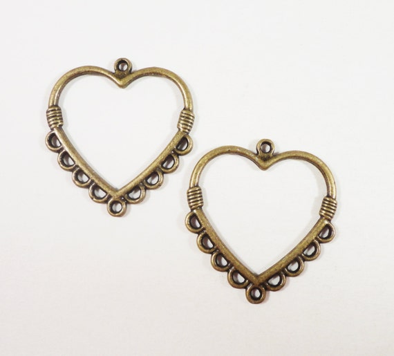 Bronze Heart Earring Findings 28x25mm Antique Brass Heart Connector Pendants, 9 to 1 Chandelier Earring Connectors, Earring Parts, 6pcs