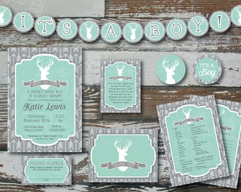 "Deer and Arrow Baby Shower Invitation PLUS 2 ""extras"""