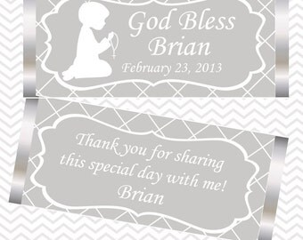 Kneeling Boy Grey Baptism Christening First Holy Communion - Personalized Candy Bar Wrapper
