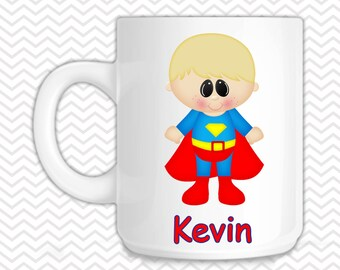 Superman Kids Mug - Personalized Superman Mug - Customized Mug - Melamine Cup - Personalized Kids cup