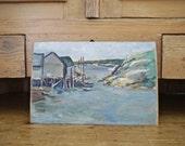 Vintage Oil on Board of Fishing Village