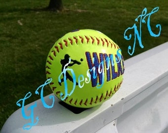 Small Softball Hitter and Fielder Embroidery Design
