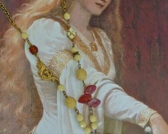 Vintage Hand carved Bone Pendant necklace