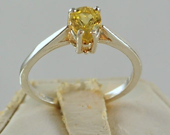 Yellow Sapphire Ring 1.07 Carat, Pear Cut Sterling Silver Ring, Size 7 3/4
