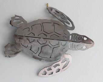 Medium Metal Sea Turtle Art Sculpture