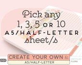 Create Your Own Printable KIT - FLORA Theme - Half-letter and A5 Planner Inserts