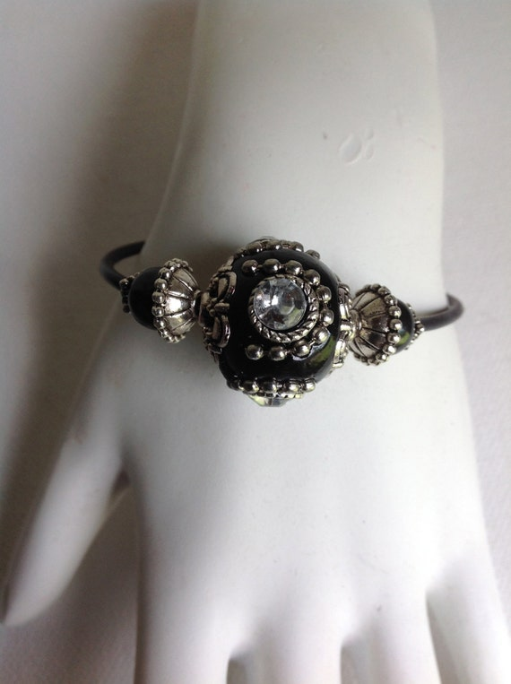 Wire Wrap Bracelet, Black and Rhinestone Beaded Bracelet, SWARVOSKI CRYSTAL Beads and Silver Spacers
